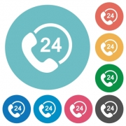 Flat 24 hour service icon set on round color background. 8 color variations included with light teme. - Flat 24 hour service icons