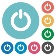 Flat power-off icon set on round color background. 8 color variations included with light teme. - Flat power-off icons