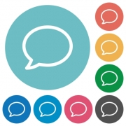 Flat chat icon set on round color background. 8 color variations included with light teme. - Flat chat icons
