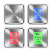 Color calculator icons engraved in glossy steel push buttons. Well organized layer structure, color swatches and graphic styles. - Color calculator steel buttons