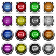 Set of working chat glossy web buttons. Arranged layer structure. - Working chat button set