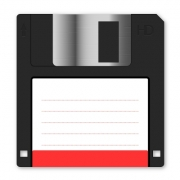 Floppy disk vector with red vignette on white background. Arranged layer structure - Floppy disk