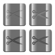 Set of Scissors buttons vector in brushed metal style. Arranged layer, color and graphic style structure.