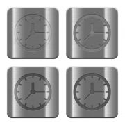 Set of Clock buttons vector in brushed metal style. Arranged layer, color and graphic style structure. - Metal Clock buttons