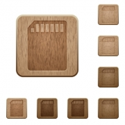 Set of carved wooden memory card buttons. 8 variations included. Arranged layer structure. - Memory card wooden buttons