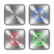 Color information icons engraved in glossy steel push buttons. Well organized layer structure, color swatches and graphic styles.