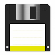 Floppy disk vector with yellow vignette on white background. Arranged layer structure - Floppy disk