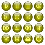 Set of yellow glossy round media player buttons. Arranged layer structure. - Media player buttons