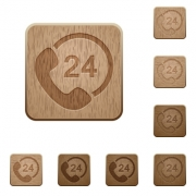Set of carved wooden 24h service buttons. 8 variations included. Arranged layer structure. - Full day service wooden buttons