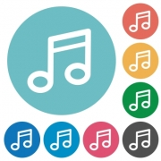 Flat music note icon set on round color background. 8 color variations included with light teme. - Flat music note icons