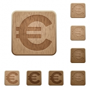 Set of carved wooden euro sign buttons. 8 variations included. Arranged layer structure. - Euro sign wooden buttons