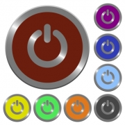 Set of glossy coin-like color power off buttons. Arranged layer structure. - Color power off buttons