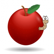 Vector graphic of a red apple with worm. - Red apple with worm