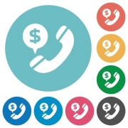 Flat money call icon set on round color background. 8 color variations included with light teme. - Flat money call icons
