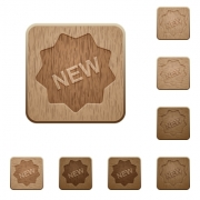 Set of carved wooden new badge buttons. 8 variations included. Arranged layer structure. - New badge wooden buttons