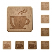 Set of carved wooden cappuccino buttons. 8 variations included. Arranged layer structure. - Cappuccino wooden buttons