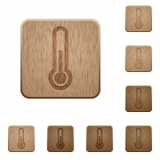 Set of carved wooden thermometer buttons. 8 variations included. Arranged layer structure. - Thermometer wooden buttons