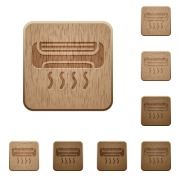 Set of carved wooden air conditioner buttons. 8 variations included. Arranged layer structure. - Air conditioner wooden buttons