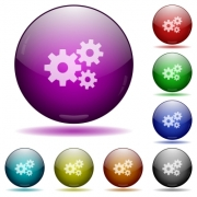 Set of color gears glass sphere buttons with shadows. Arranged layer structure. - Gears glass sphere buttons