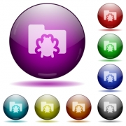 Set of color bug folder, glass sphere buttons with shadows. Arranged layer structure. - Bug folder, glass sphere buttons