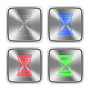 Color hourglass icons engraved in glossy steel push buttons. Well organized layer structure, color swatches and graphic styles. - Color hourglass steel buttons