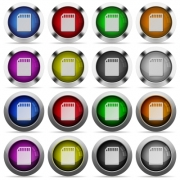Set of memory card glossy web buttons. Arranged layer structure. - Memory card button set
