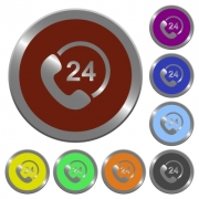 Set of glossy coin-like color 24 hour service buttons. Arranged layer structure. - Color 24 hour service buttons