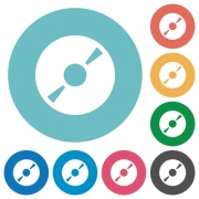 Flat DVD icon set on round color background. 8 color variations included with light teme. - Flat DVD icons