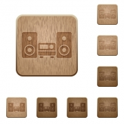 Set of carved wooden hifi buttons. 8 variations included. Arranged layer structure. - Hifi wooden buttons