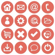 Basic web icon set in round flat style with sallow red colors. - Basic web icons