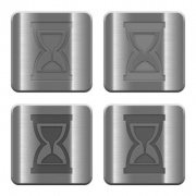 Set of hourglass buttons vector in brushed metal style. Arranged layer, color and graphic style structure. - Metal hourglass buttons