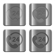 Set of 24 hour support buttons vector in brushed metal style. Arranged layer, color and graphic style structure. - Metal 24 hour support buttons