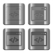 Set of programming code buttons vector in brushed metal style. Arranged layer, color and graphic style structure. - Metal programming code buttons