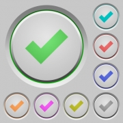 Set of ok sunk push buttons. Well-organized layer, color swatch and graphic style structure. Easy to recolor. - Ok push buttons