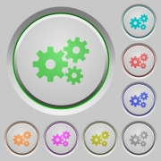 Set of gears sunk push buttons. Well-organized layer, color swatch and graphic style structure. Easy to recolor. - Gears push buttons