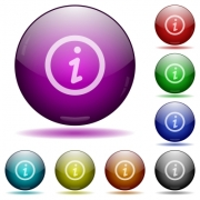 Set of color information glass sphere buttons with shadows. Arranged layer structure. - Information glass sphere buttons