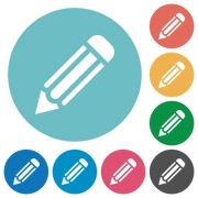 Flat pencil icon set on round color background. 8 color variations included with light teme. - Flat pencil icons