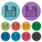 Color save flat icon set on round background. 10 variations included. - Color save flat icons
