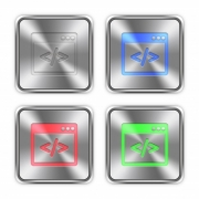 Color programming code icons engraved in glossy steel push buttons. Well organized layer structure, color swatches and graphic styles.