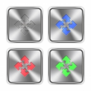 Color modules icons engraved in glossy steel push buttons. Well organized layer structure, color swatches and graphic styles. - Color modules steel buttons