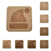 Set of carved wooden Santa hat buttons. 8 variations included. Arranged layer structure. - Santa hat wooden buttons