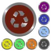 Set of glossy coin-like color recycling buttons. Arranged layer structure. - Color recycling buttons