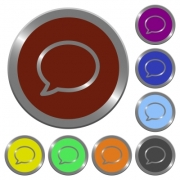 Set of glossy coin-like color chat bubble buttons. Arranged layer structure. - Color chat bubble buttons
