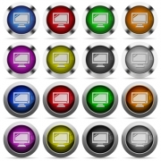 Set of monitor glossy web buttons. Arranged layer structure. - Monitor button set
