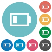 Flat low battery icon set on round color background. 8 color variations included with light teme. - Flat low battery icons