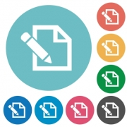 Flat edit icon set on round color background. - Flat edit icons