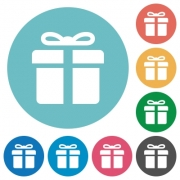Flat gift icon set on round color background. - Flat gift icons