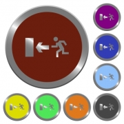 Set of glossy coin-like color exit buttons.