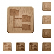Set of carved wooden folder structure buttons in 8 variations. - Folder structure wooden buttons