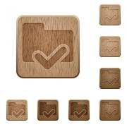 Set of carved wooden folder ok buttons in 8 variations. - Folder ok wooden buttons